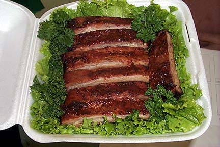 Barbecue ribs, competition turn in box